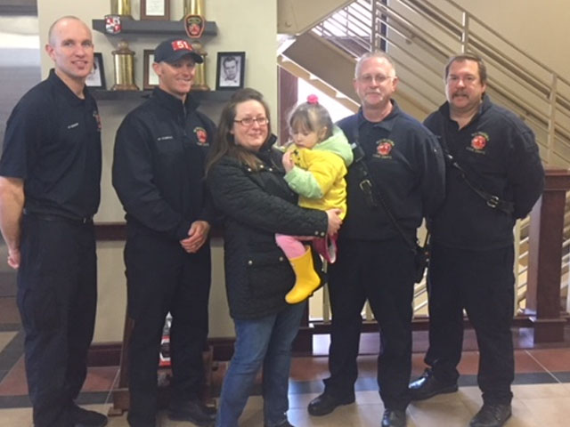 Child visits firehouse to thank crew who saved her